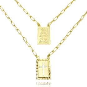 Escapulário Tudo posso + Crucifixo Vazado 70cm Carrier Diamantada (Banho Ouro 24k)