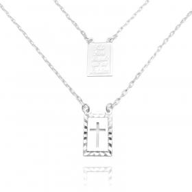 Escapulário Tudo posso + Crucifixo Vazado 70cm Carrier Diamantada (Banho Prata 925)