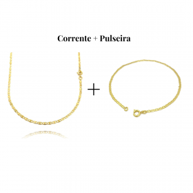 ki Corrente Piastrine 2mm 60cm (Fecho Tradicional) + Pulseira Piastrine 2mm (Fecho Tradicional)