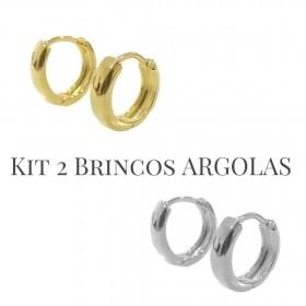 Kit Brinco Argola Anatômica PP  Piercing Hélix (Banho Ouro 24k) + Brinco Argola Anatômica PP  Piercing Hélix (Banho Prata 925)