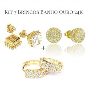 Kit Brinco Catedral com Pedra de Zircônia + Brinco Redondo Cravejado 40 pedras de Zircônia + Brinco Argola Cravejada em Zircônia 12 pedras (Banho Ouro 24k)
