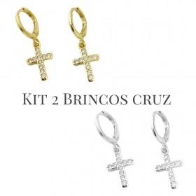 Kit Brinco Cruz Cravejada em Zircônia P (Banho Ouro 24k)  + Brinco Cruz Cravejada em Zircônia P (Banho De Prata)