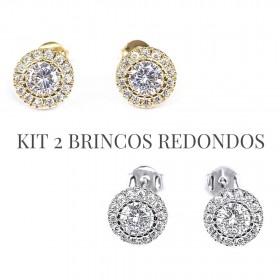 kit Brinco Redondo Cravejado 15 Pedras de Zircônia (Banho Ouro 24k)  + Brinco Redondo Cravejado 15 Pedras de Zircônia (Banho De Prata)