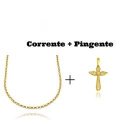 kit Colar Elo Portugues 2,8mm 45cm (8,1g) + Pingente Crucifixo Asas Cravejado em Zircônia 2,8x2,1cm