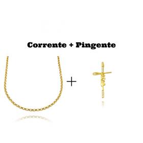 kit Colar Elo Portugues 2,8mm 45cm (8,1g) + Pingente Crucifixo Jesus Cravejado em Zircônia (3,9x2,0cm)