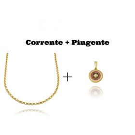 kit Colar Elo Portugues 2,8mm 45cm (8,1g)  + Pingente Medalha Mandala Cravejado em Zircônia 1,5cm X 1,5cm