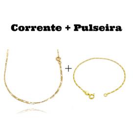 kit Corrente 3 por 1 2mm 60cm (Fecho Tradicional) + Pulseira 3 por 1 1,6mm (Fecho Tradicional)
