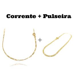 kit Corrente 3 por 1 2mm 60cm (Fecho Tradicional) + Pulseira 3 por 1 2mm (Fecho Tradicional)