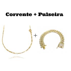 kit Corrente 3 por 1 2mm 60cm (Fecho Tradicional) + Pulseira Cuban Link Retangular Cravejada em Zircônia 14mm (32,1g)
