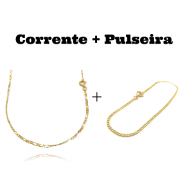kit Corrente 3 por 1 2mm 60cm (Fecho Tradicional) + Pulseira Grumet 2mm (Fecho Tradicional)