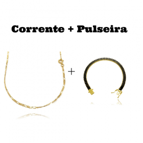 kit Corrente 3 por 1 2mm 60cm (Fecho Tradicional) + Pulseira Riviera Baguetes 5mm (Pedras de Zircônia Preta) (Fecho Gaveta Duplo)