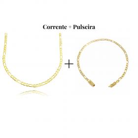 kit Corrente 3 por 1 3mm 60cm 5,8g (Fecho Gaveta) (Banho Ouro 24k) + Pulseira 3 por 1 3mm (Fecho Gaveta) (Banho Ouro 24K)
