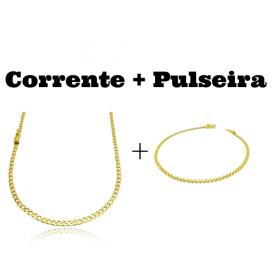 kit Corrente Cadeado Duplo 2,8mm 60cm 8g (Fecho Gaveta) + Pulseira Cadeado Duplo 2,8mm (Fecho Gaveta)