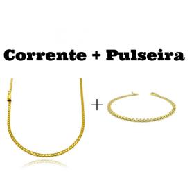 kit Corrente Cadeado Duplo 2,8mm 60cm 8g (Fecho Gaveta) + Pulseira Cadeado Duplo 3,5mm (Fecho Gaveta)