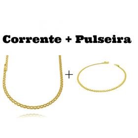 kit Corrente Cadeado Duplo 3,5mm 60cm 13g (Fecho Gaveta) + Pulseira Cadeado Duplo 2,8mm (Fecho Gaveta)