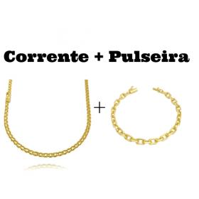kit Corrente Cadeado Duplo 3,5mm 60cm 13g (Fecho Gaveta) + Pulseira Cadeado Duplo 3,5mm (Fecho Gaveta)
