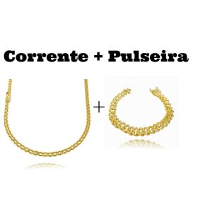 kit Corrente Cadeado Duplo 3,5mm 60cm 13g (Fecho Gaveta) + Pulseira Cuban Link Cravejada em Zircônia 10mm (23,6g)