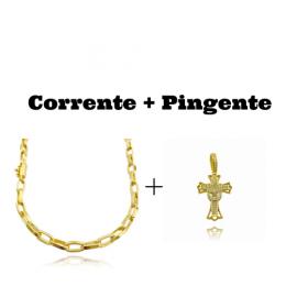 kit Corrente Carrier Arredondada 5mm 60cm (33g) + Pingente Crucifixo Cravejado (4,5cmX2,9cm) (7g) (Banho Ouro 24k)