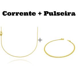 kit Corrente Carrier Cadeado 1,2mm 70cm (Fecho Tradicional) + Pulseira Cadeado Duplo 2,8mm (Fecho Gaveta)