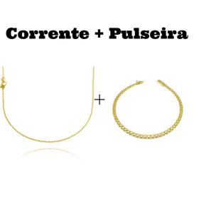 kit Corrente Carrier Cadeado 1,2mm 70cm (Fecho Tradicional) + Pulseira Cadeado Duplo 3,5mm (Fecho Gaveta)