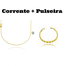 kit Corrente Carrier Cadeado 1,2mm 70cm (Fecho Tradicional) + Pulseira Carrier Arredondada Oval 5,5mm (12g) (Fecho Canhão)