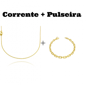 kit Corrente Carrier Cadeado 1,2mm 70cm (Fecho Tradicional) + Pulseira Carrier Cadeado 6,5mm (16,5g) (Fecho Canhão)
