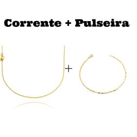 kit Corrente Carrier Cadeado 1,2mm 70cm (Fecho Tradicional) + Pulseira Carrier Cubinho 1,5mm (Fecho Tradicional)