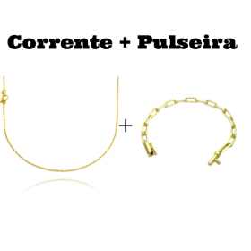 kit Corrente Carrier Cadeado 1,2mm 70cm (Fecho Tradicional) + Pulseira Carrier Diamantada 5mm 10g (Fecho Canhão)