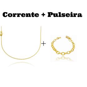 kit Corrente Carrier Cadeado 1,2mm 70cm (Fecho Tradicional) + Pulseira Cartier Cravejada em Zircônia 8mm (Fecho Canhão) (24,4g)