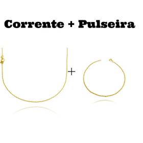 kit Corrente Carrier Cadeado 1,2mm 70cm (Fecho Tradicional) + Pulseira Cordão Baiano 1,5mm (Fecho Tradicional)