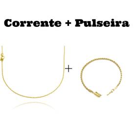 kit Corrente Carrier Cadeado 1,2mm 70cm (Fecho Tradicional) + Pulseira Cordão Baiano 2,5mm (Fecho Canhão)