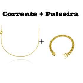 kit Corrente Carrier Cadeado 1,2mm 70cm (Fecho Tradicional) + Pulseira Double Grumet 7,5mm 17g (Fecho Gaveta Duplo)