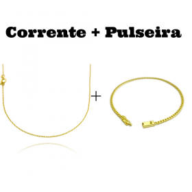 kit Corrente Carrier Cadeado 1,2mm 70cm (Fecho Tradicional) + Pulseira Grumet 2,8mm (Fecho Gaveta)