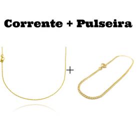 kit Corrente Carrier Cadeado 1,2mm 70cm (Fecho Tradicional) + Pulseira Grumet 2mm (Fecho Tradicional)
