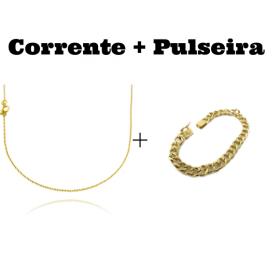 kit Corrente Carrier Cadeado 1,2mm 70cm (Fecho Tradicional) + Pulseira Grumet 7,5mm 13g (Fecho Gaveta Personalizado)