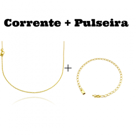 kit Corrente Carrier Cadeado 1,2mm 70cm (Fecho Tradicional) + Pulseira Grumet Aberta 3,5mm (Fecho Gaveta)
