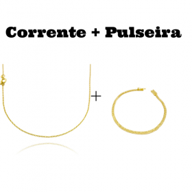 kit Corrente Carrier Cadeado 1,2mm 70cm (Fecho Tradicional) + Pulseira Grumet Union 3,3mm (Fecho Gaveta)