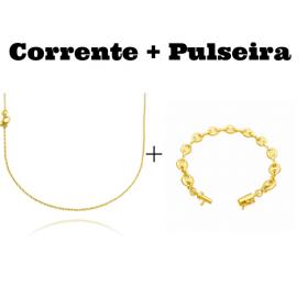 kit Corrente Carrier Cadeado 1,2mm 70cm (Fecho Tradicional) + Pulseira Gucci Link 8mm (9,4g) (Fecho Canhão)
