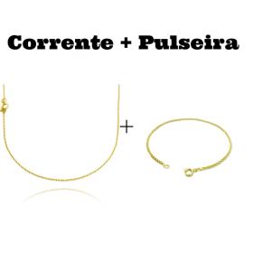 kit Corrente Carrier Cadeado 1,2mm 70cm (Fecho Tradicional) + Pulseira Peruana 2mm (Fecho Tradicional)