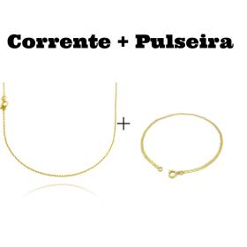 kit Corrente Carrier Cadeado 1,2mm 70cm (Fecho Tradicional) + Pulseira Piastrine 2mm (Fecho Tradicional)