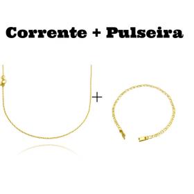 kit Corrente Carrier Cadeado 1,2mm 70cm (Fecho Tradicional) + Pulseira Piastrine 3,3mm (Fecho Gaveta)