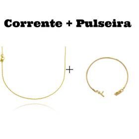 kit Corrente Carrier Cadeado 1,2mm 70cm (Fecho Tradicional) + Pulseira Rabo de Rato 2mm (Fecho Canhão)