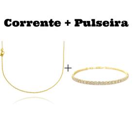 kit Corrente Carrier Cadeado 1,2mm 70cm (Fecho Tradicional) + Pulseira Riviera Pedras de Zircônia 3mm (Fecho Canhão)
