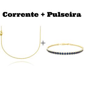 kit Corrente Carrier Cadeado 1,2mm 70cm (Fecho Tradicional) + Pulseira Riviera Pedras de Zircônia Azul 3mm 7g (Fecho Canhão)