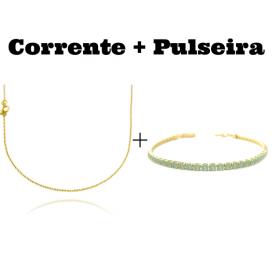 kit Corrente Carrier Cadeado 1,2mm 70cm (Fecho Tradicional) + Pulseira Riviera Pedras de Zircônia Verde 3mm 7g (Fecho Canhão)
