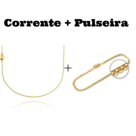 kit Corrente Carrier Cadeado 1,2mm 70cm (Fecho Tradicional) + Pulseira Veneziana 2,8mm 7g (Fecho Canhão)
