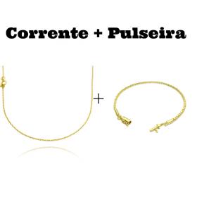 kit Corrente Carrier Cadeado 1,2mm 70cm (Fecho Tradicional) + Pulseira Veneziana 2mm 6g (Fecho Canhão)