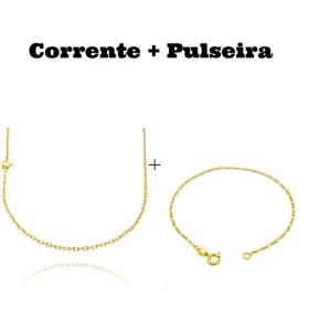 kit Corrente Carrier Cadeado 2mm 60cm (Fecho Tradicional) + Pulseira 3 por 1 1,6mm (Fecho Tradicional)