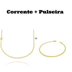 kit Corrente Carrier Cadeado 2mm 60cm (Fecho Tradicional) + Pulseira Cadeado Duplo 2,8mm (Fecho Gaveta)