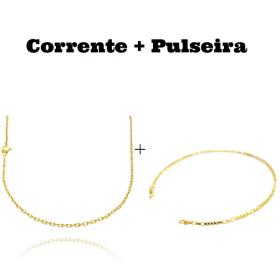 kit Corrente Carrier Cadeado 2mm 60cm (Fecho Tradicional) + Pulseira Carrier Cubinho 3 por 3 1,5mm (Fecho Tradicional)
